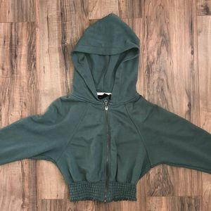 Urban Outfitters green cropped zip-up hoodie